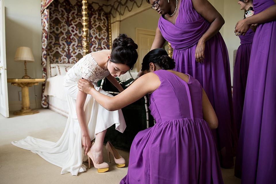 Temperley Bride with purple bridesmaids