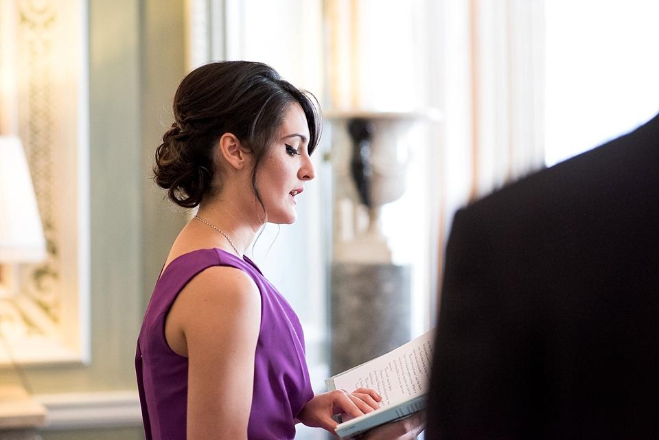 Bridesmaid delivering wedding reading