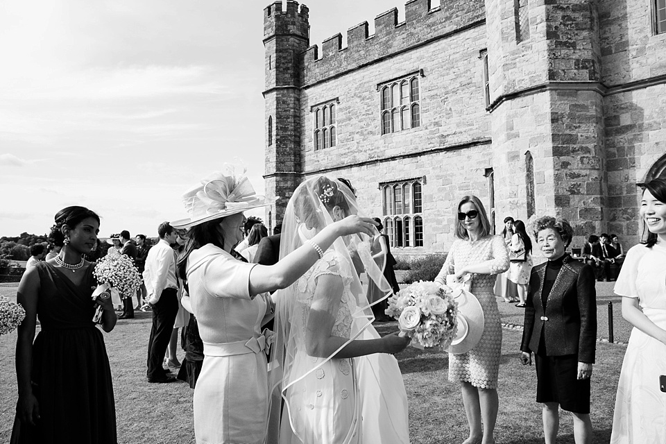 Bride greeting family Leeds Castle