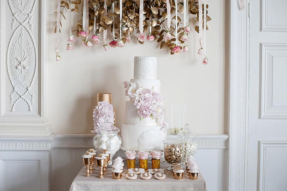 Luxury white wedding cake with pink roses - elizabeth solar