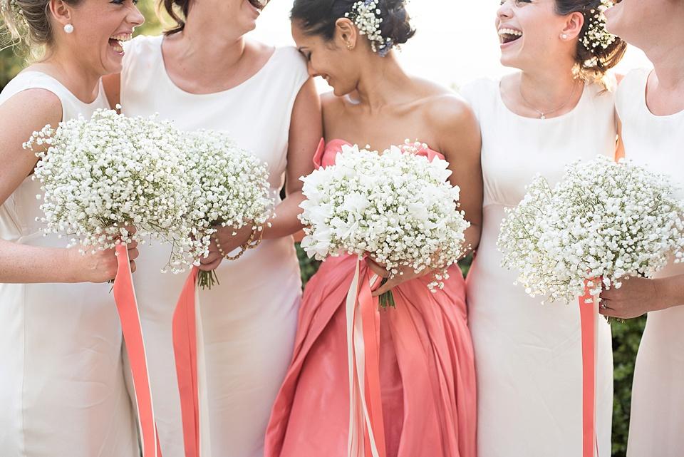 887 Pink bride white bridesmaids