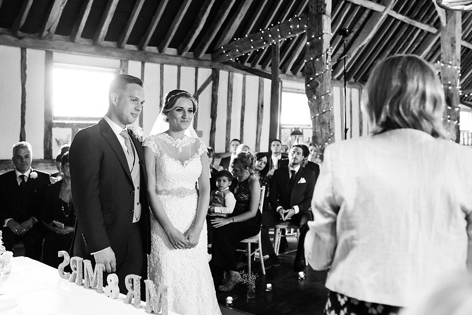 Pledgdon Barn wedding ceremony Essex with Ronald Joyce bride