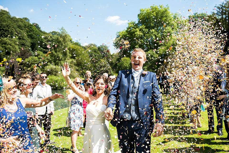 Fun confetti wedding portrait Surrey