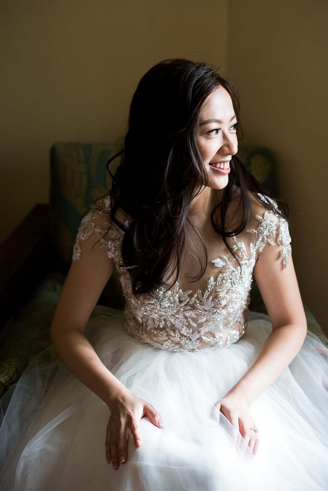 Stylish bride wearing La Sposa dress pre wedding morning photography Cotswolds