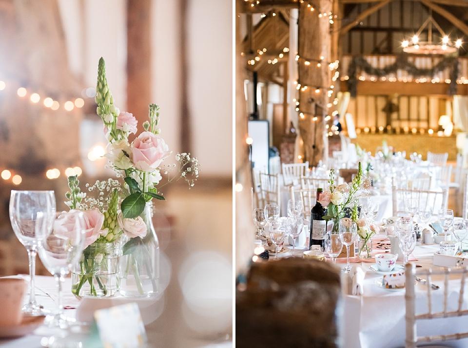 Pink rose wedding table decoration Pledgdon Barn Essex