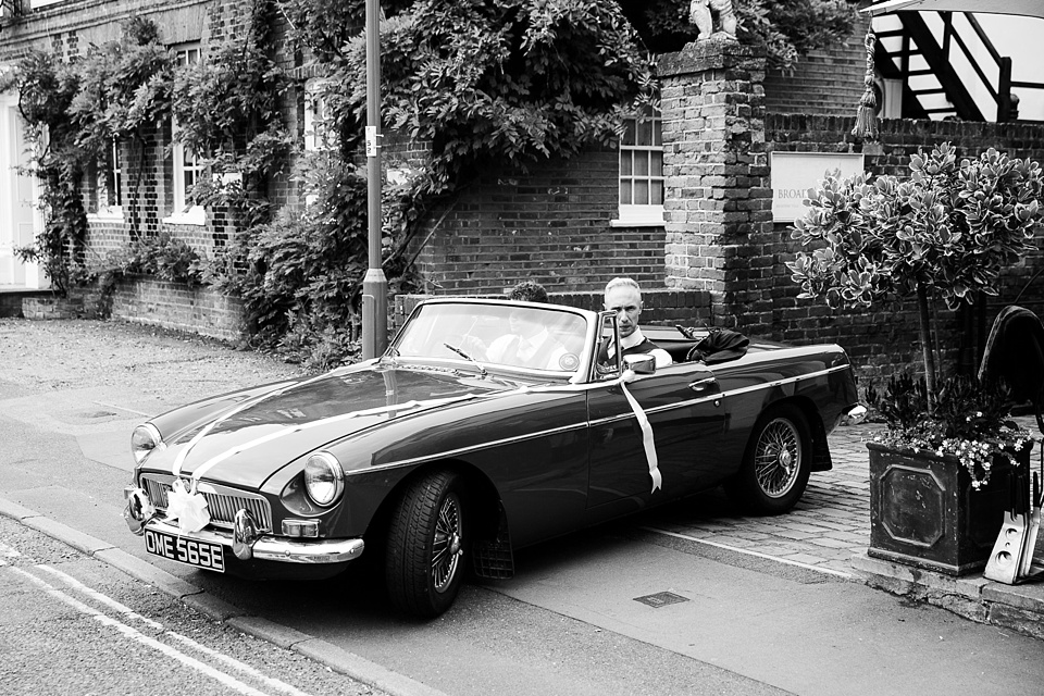 Vintage car Fetcham Park wedding