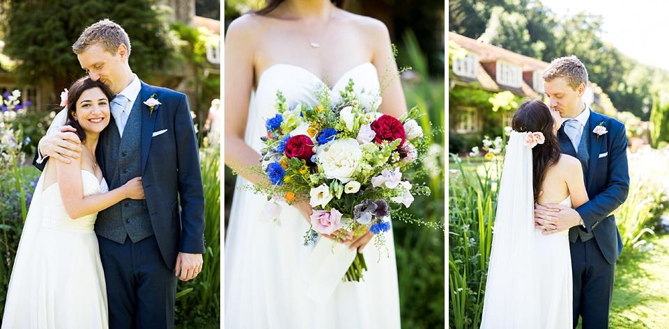 Trio of wedding portraits Busbridge Lake wedding photography