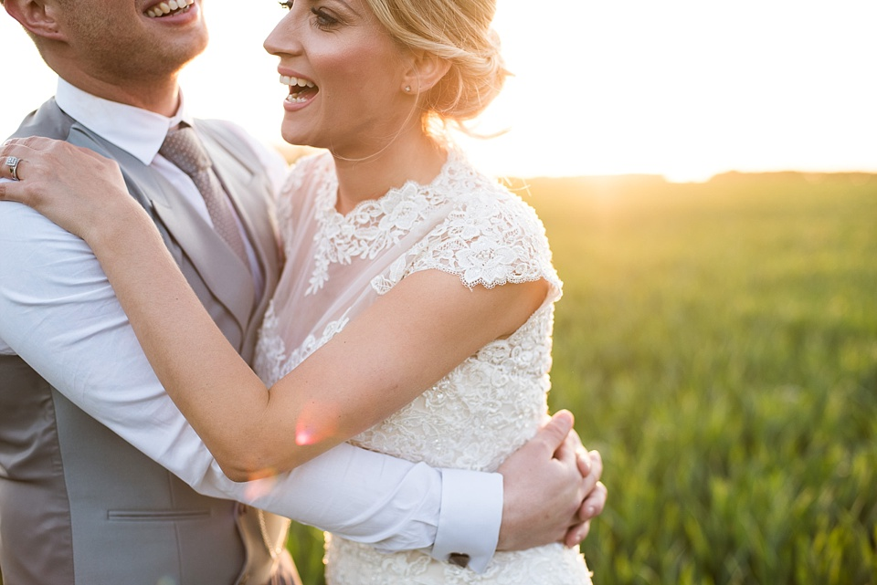 Beautiful and honest imagery wedding portrait during sunset Essex