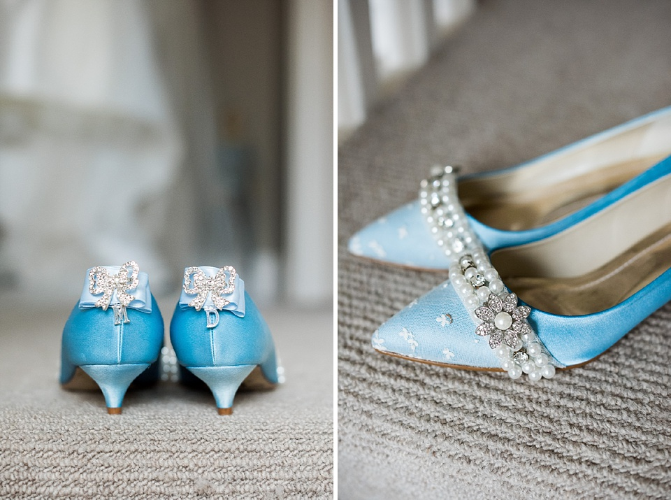 Bridal shoes blue with pearl decorations Fetcham Park