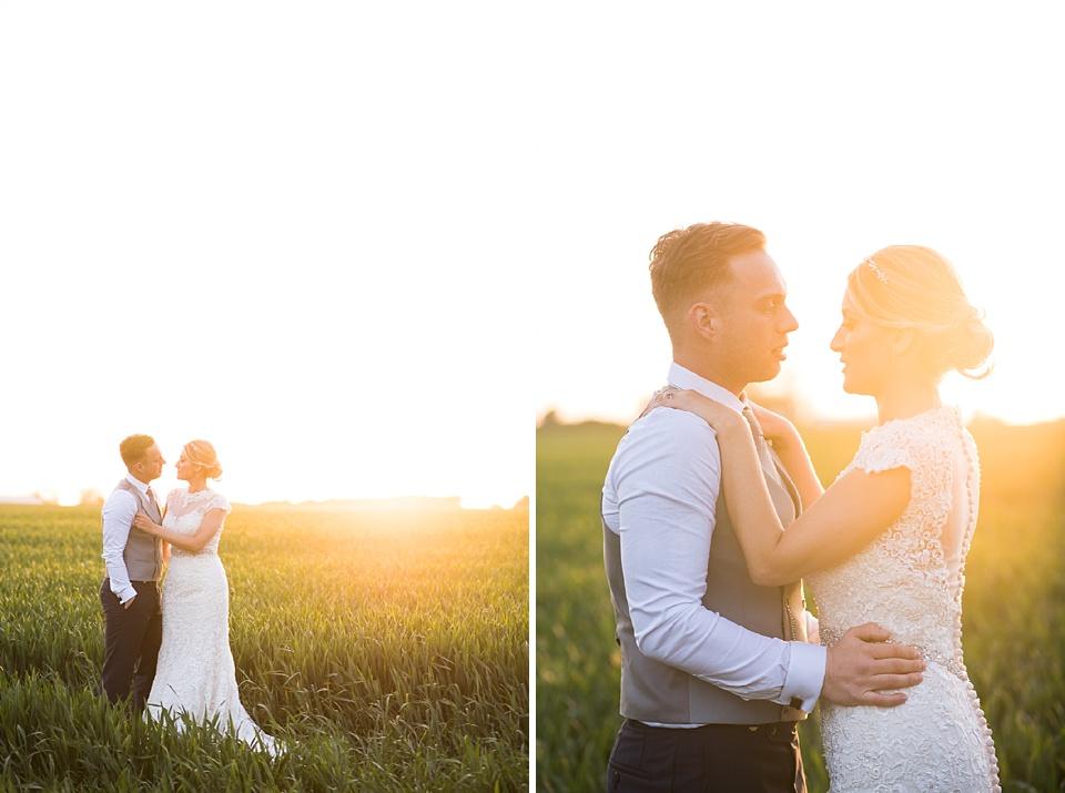 Golden wedding portrait during sunset Essex