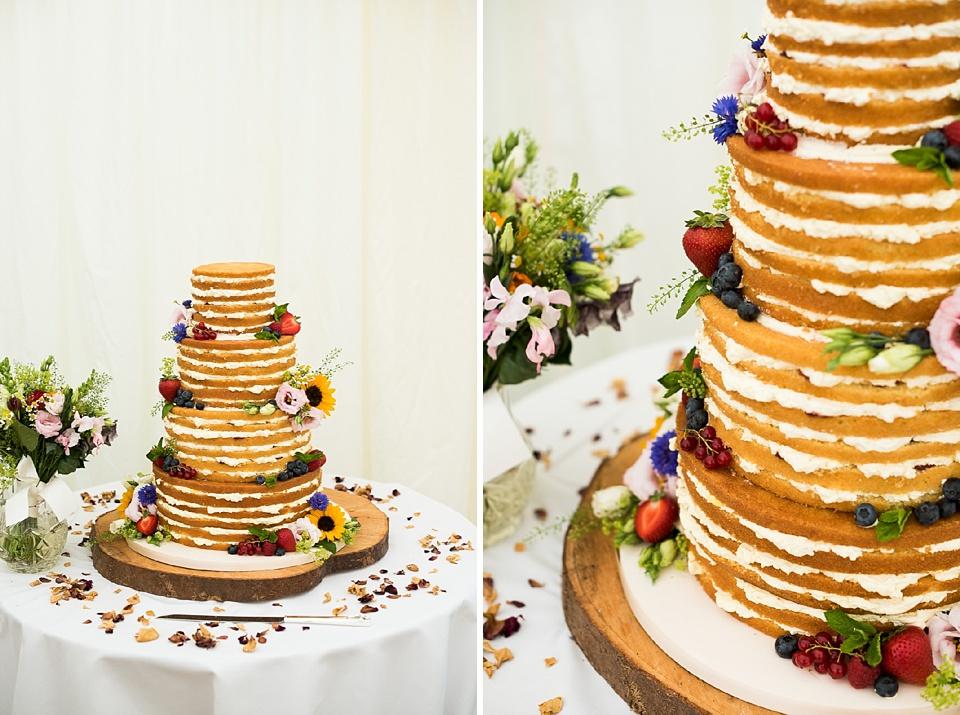 Summer fruit sponge cream wedding cake Surrey
