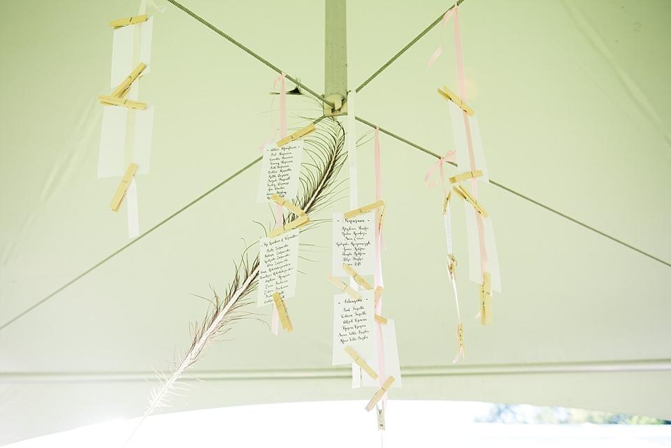 Hanging decorations Busbridge Lake wedding venue