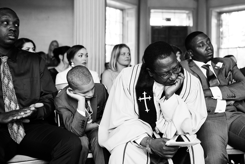 Sleepy vicar during wedding ceremony