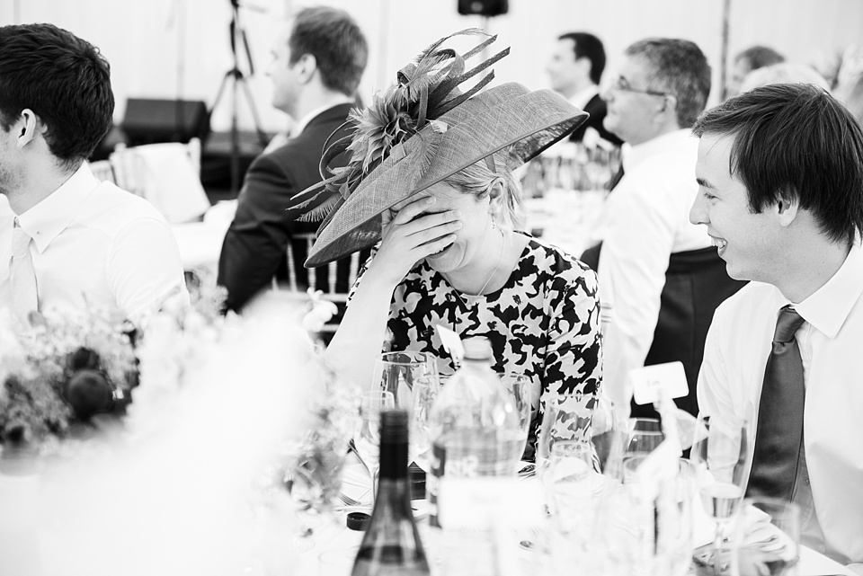 Fun reactions during wedding speeches Surrey