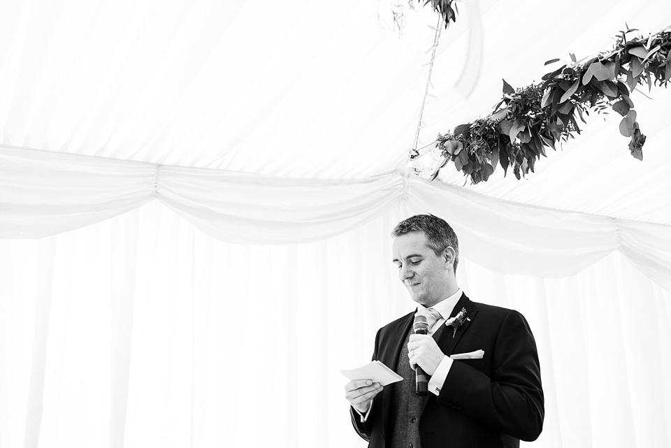 Best man delivers speech Busbridge Lake wedding Surrey