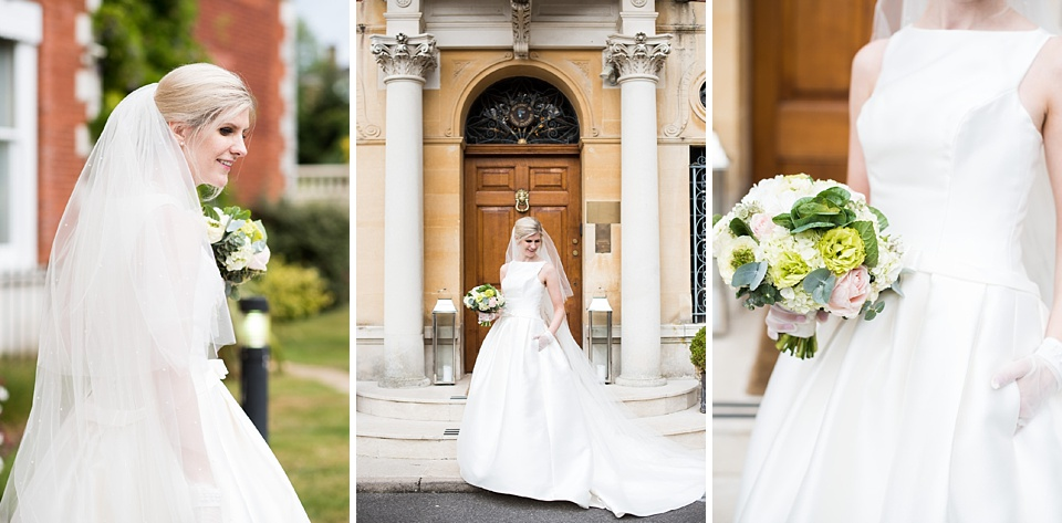 Elegant bride with colourful bridal bouquet Fetcham Park Surrey