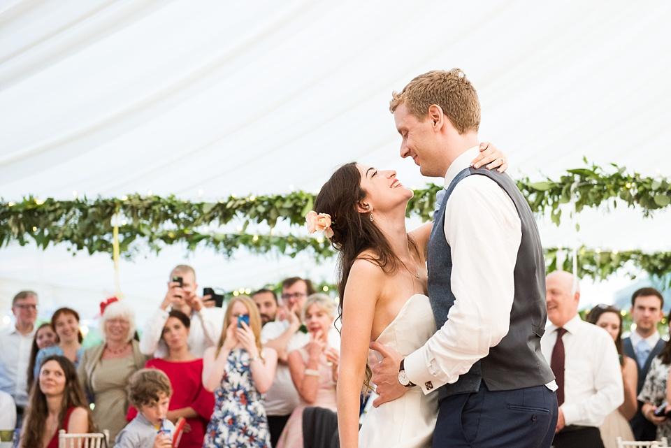 First dance at Busbride Lake wedding venue Surrey