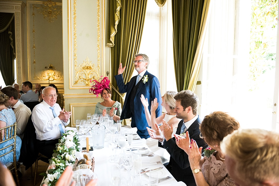 Father of the bride delivers speech Fetcham Park wedding