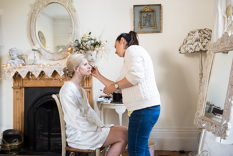 Pre-wedding morning bridal make over Fetcham Park wedding