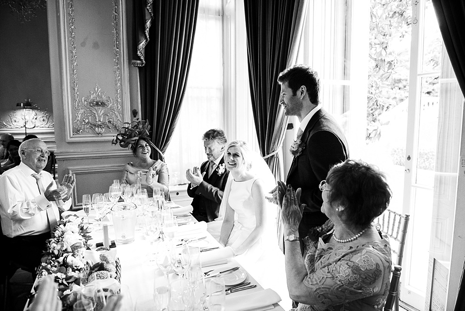 Groom delivers speech Fetcham Park Surrey wedding