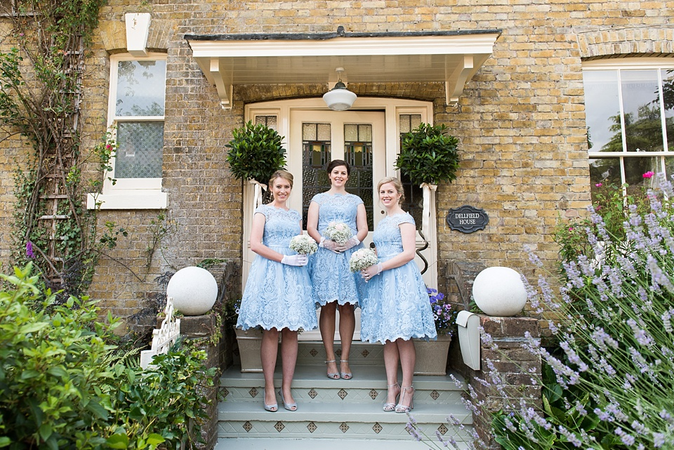 Trio of vintage dressed bridesmaids Fetcham Park