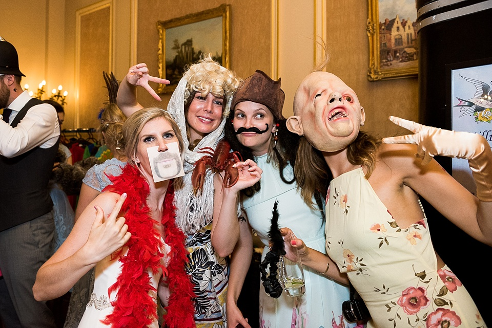 Fun group wedding fancy dress Fetcham Park wedding Surrey