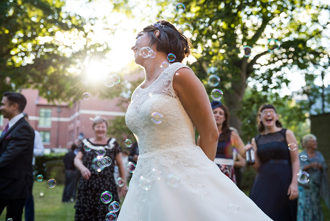 Bridal portrait with confetti bubbles Associate Wedding Photographer
