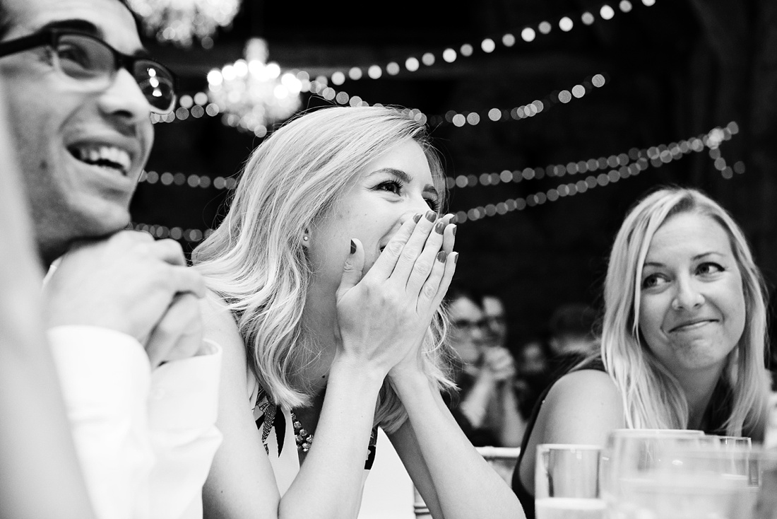 Fun reactions to wedding speech Associate Wedding Photographer