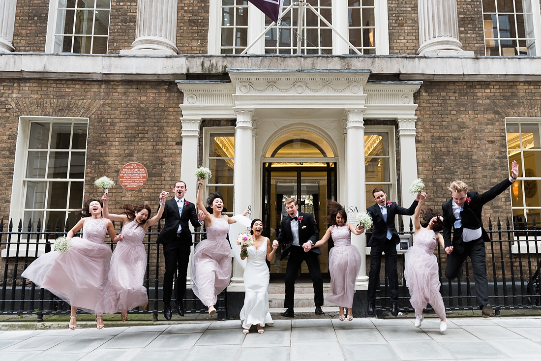 Fun group wedding photography RSA London