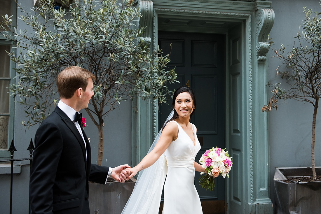 Stephanie Allin bride with Mary Jane Vaughan floral bouquet London