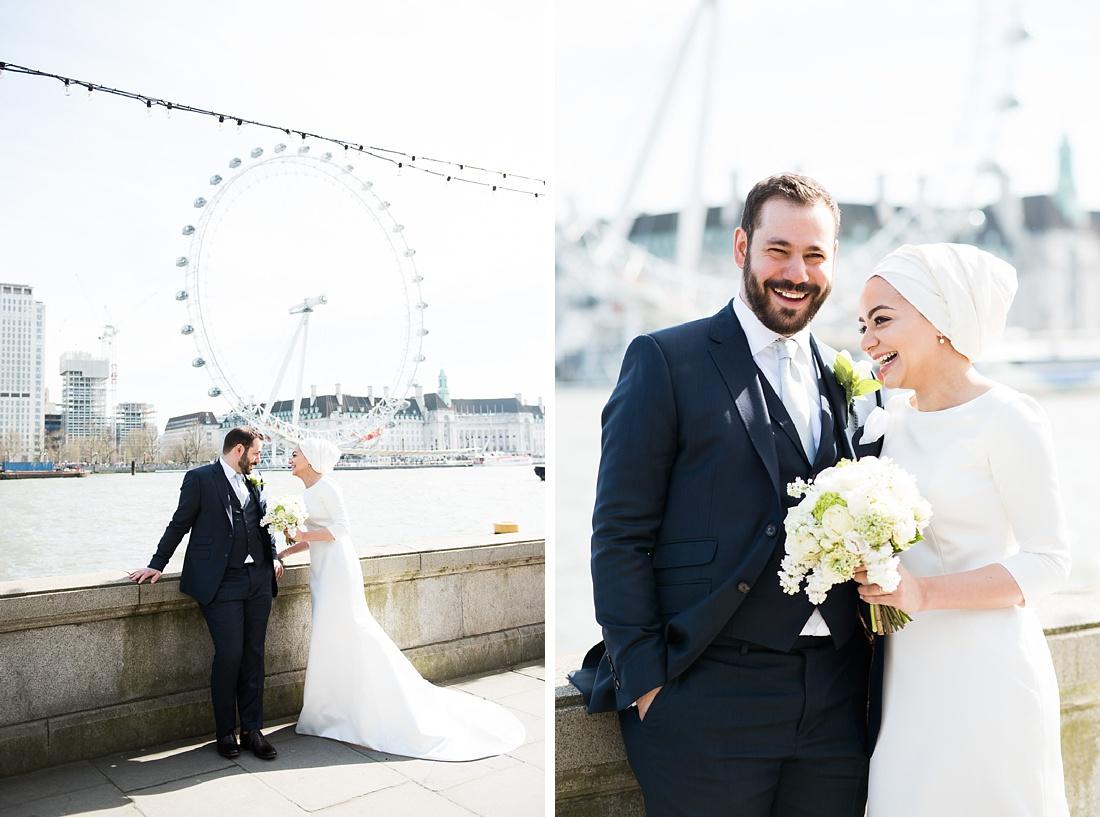 Elegant London embankment wedding portrait Persian wedding ceremony