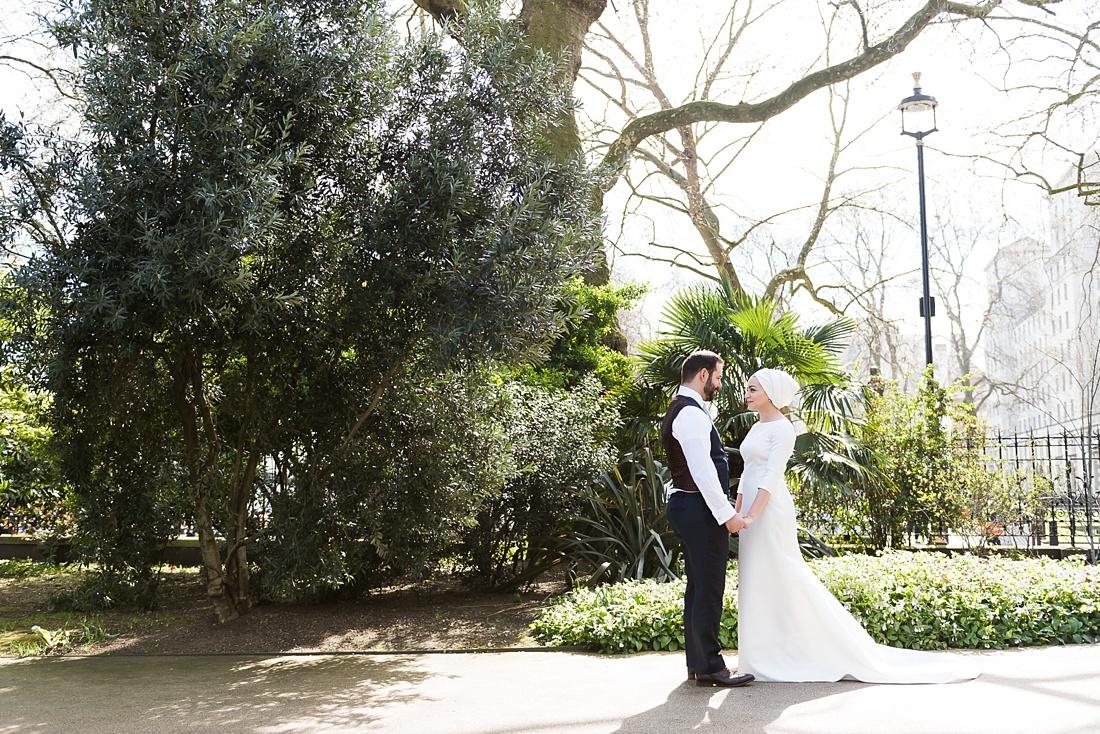 Beautiful spring wedding portrait London
