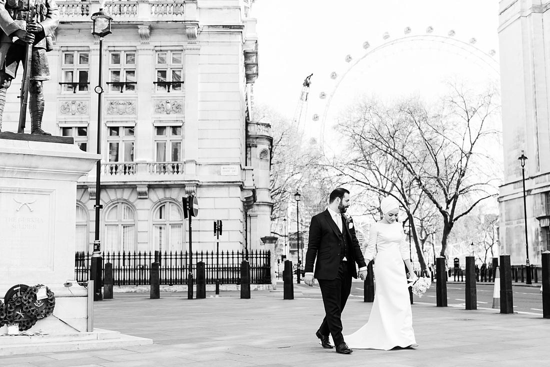Elegant London wedding portrait