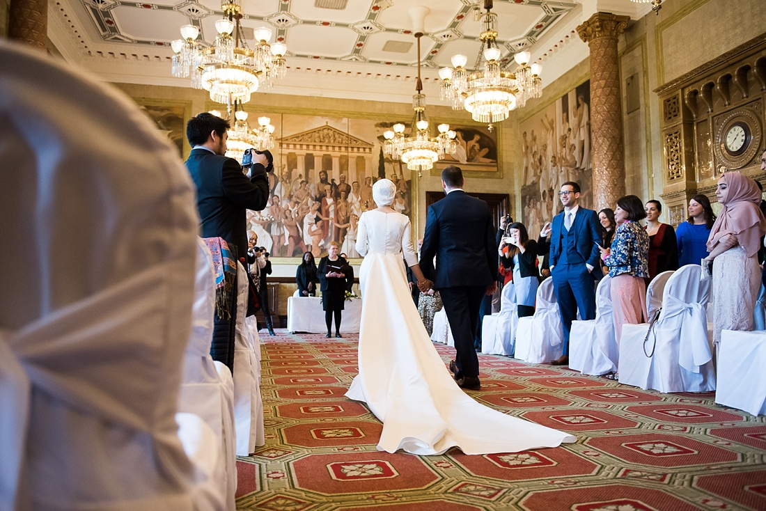 Pronovias bride with Cathedral veil length with Ted Baker groom at One Whitehall Place London