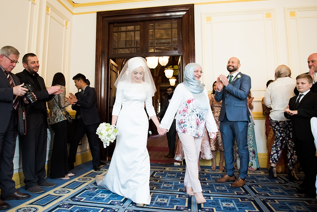 Pronovias bride with flyaway length veil with Mother One Whitehall Place wedding ceremony London
