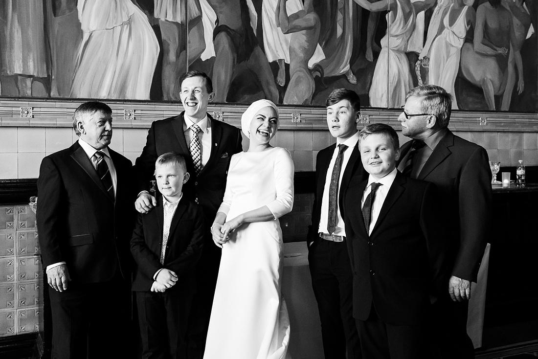 Laughing Pronovias bride elegant London wedding