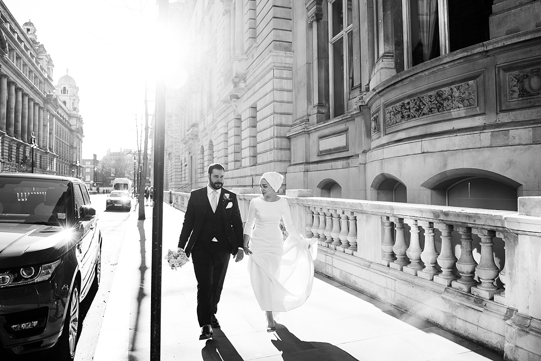 Creative elegant wedding portrait London