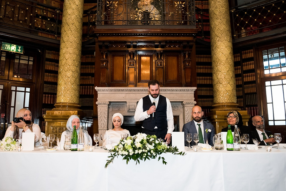 Groom delivers wedding speech One Whitehall Place London