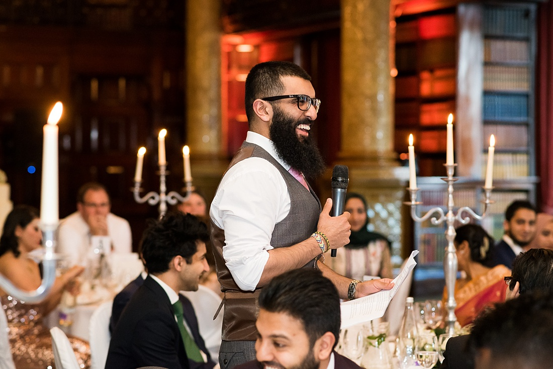 Best man delivers wedding speech London