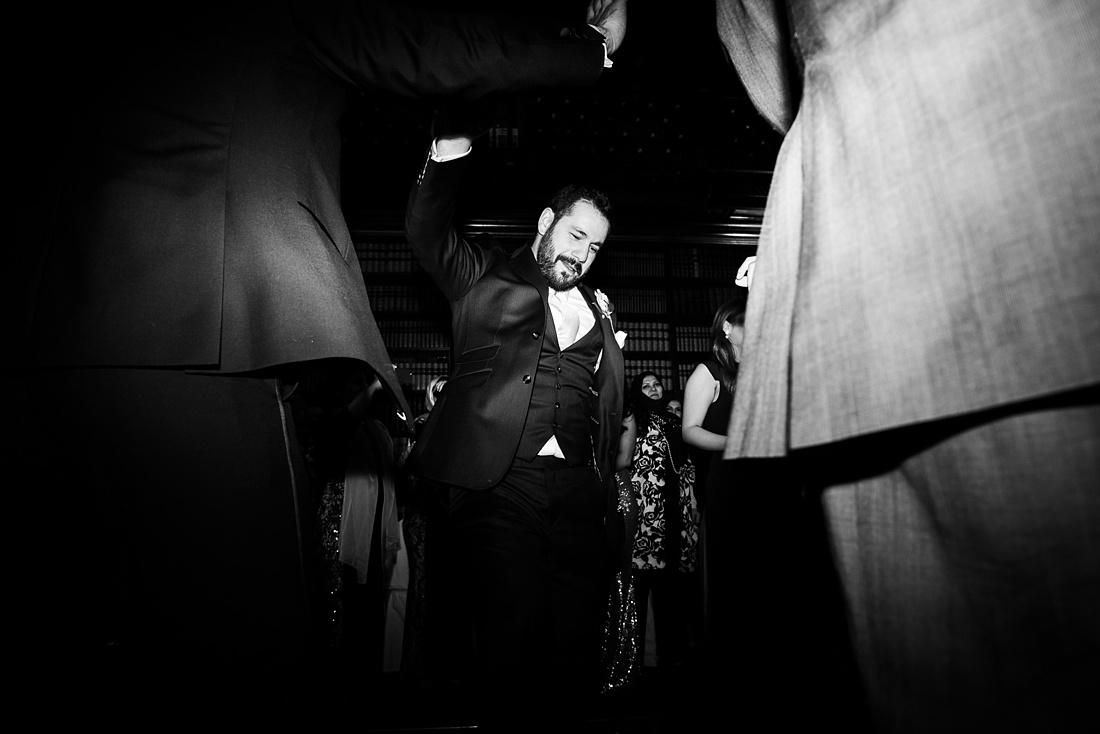 Ted Baker groom dancing London wedding