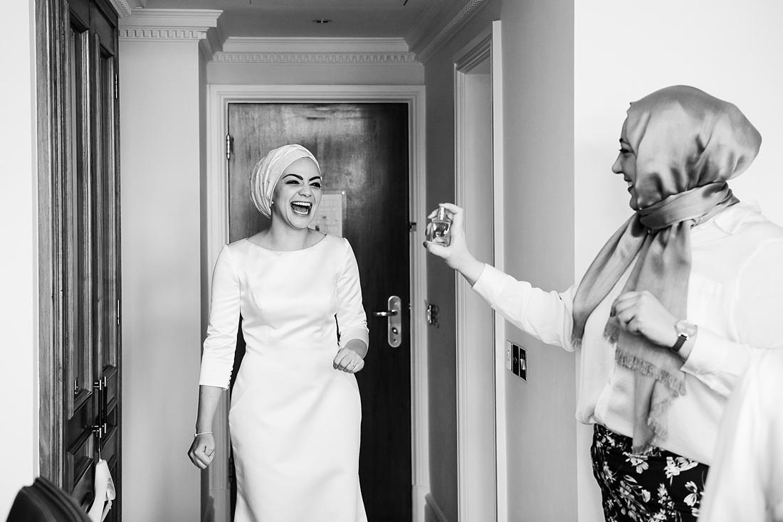 Fun bridal prep elegant London wedding