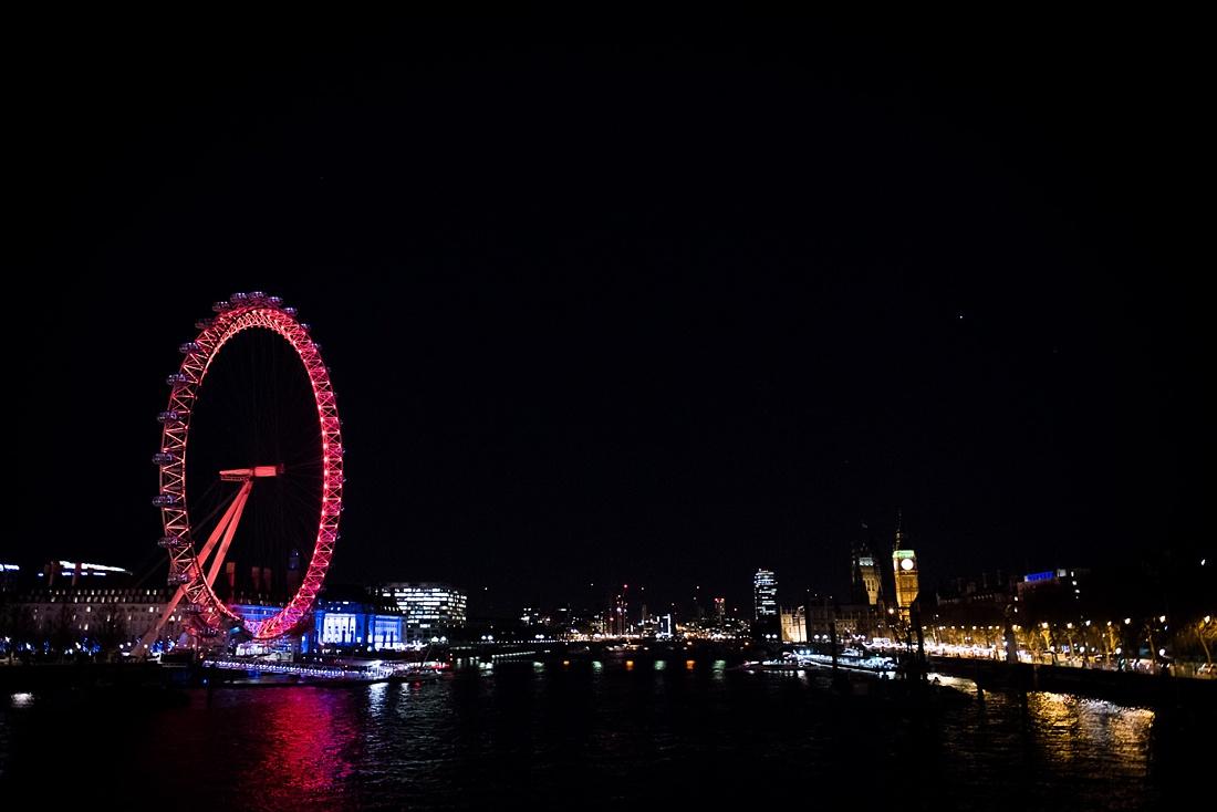 Beautiful London night sky line portrait