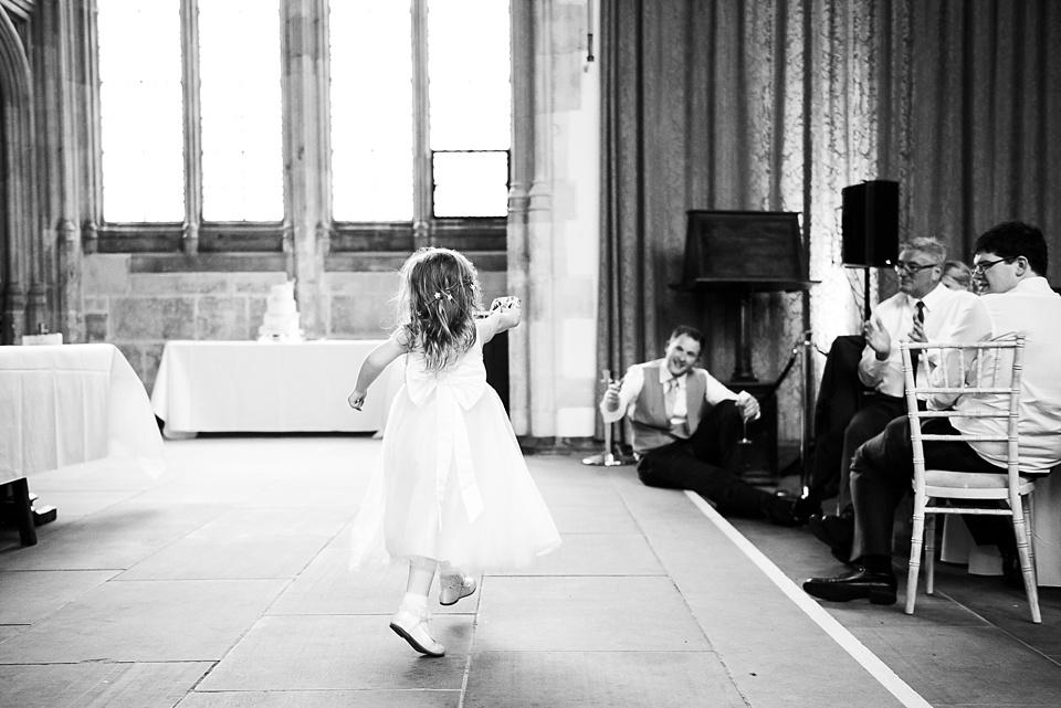 Flower girl on dance floor Eltham Palace wedding London