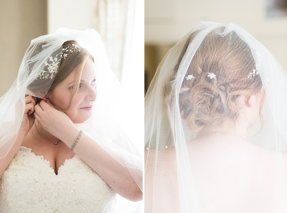 Luxe bride wearing With Love Bridal dress with delicate veil London