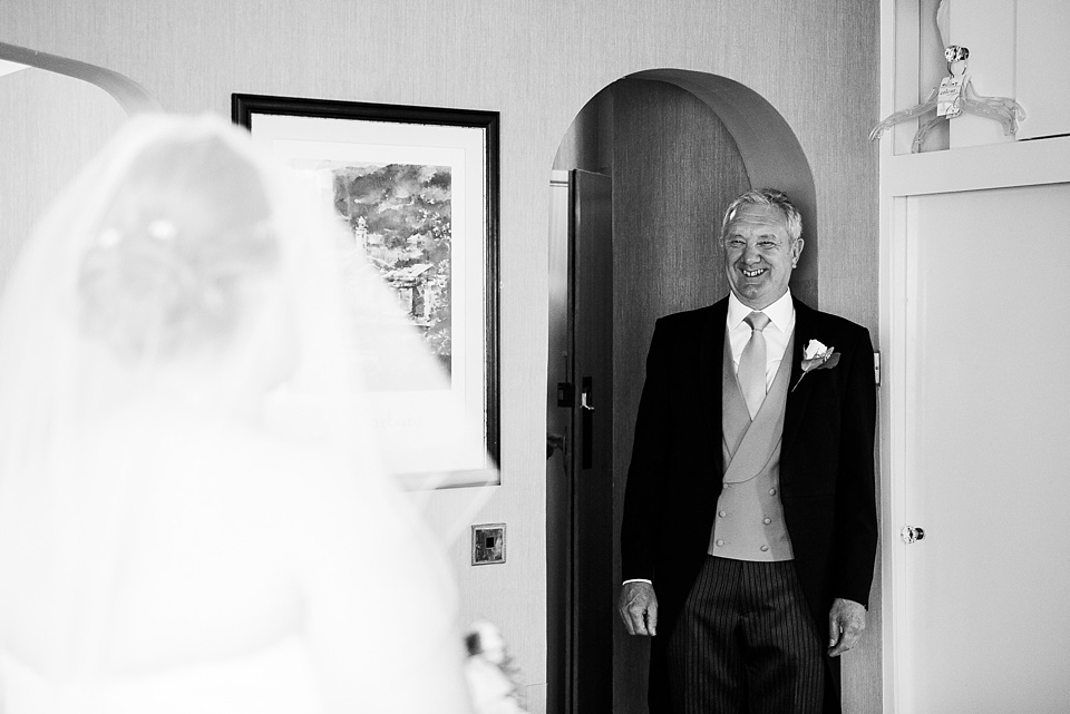 First look father sees daughter pre wedding morning photography London