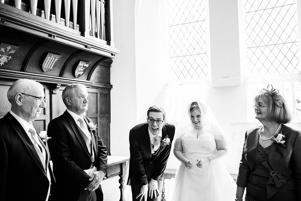 Fun family wedding celebration London church wedding