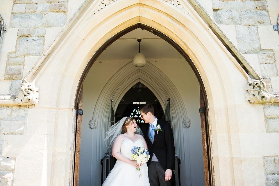 Happy church wedding portrait London