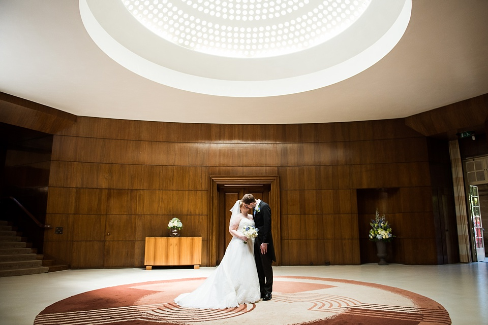 Luxe elegant wedding portrait at historic wedding venue Eltham Palace London