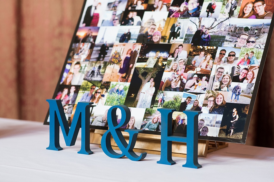M & H letter sign with photo board London