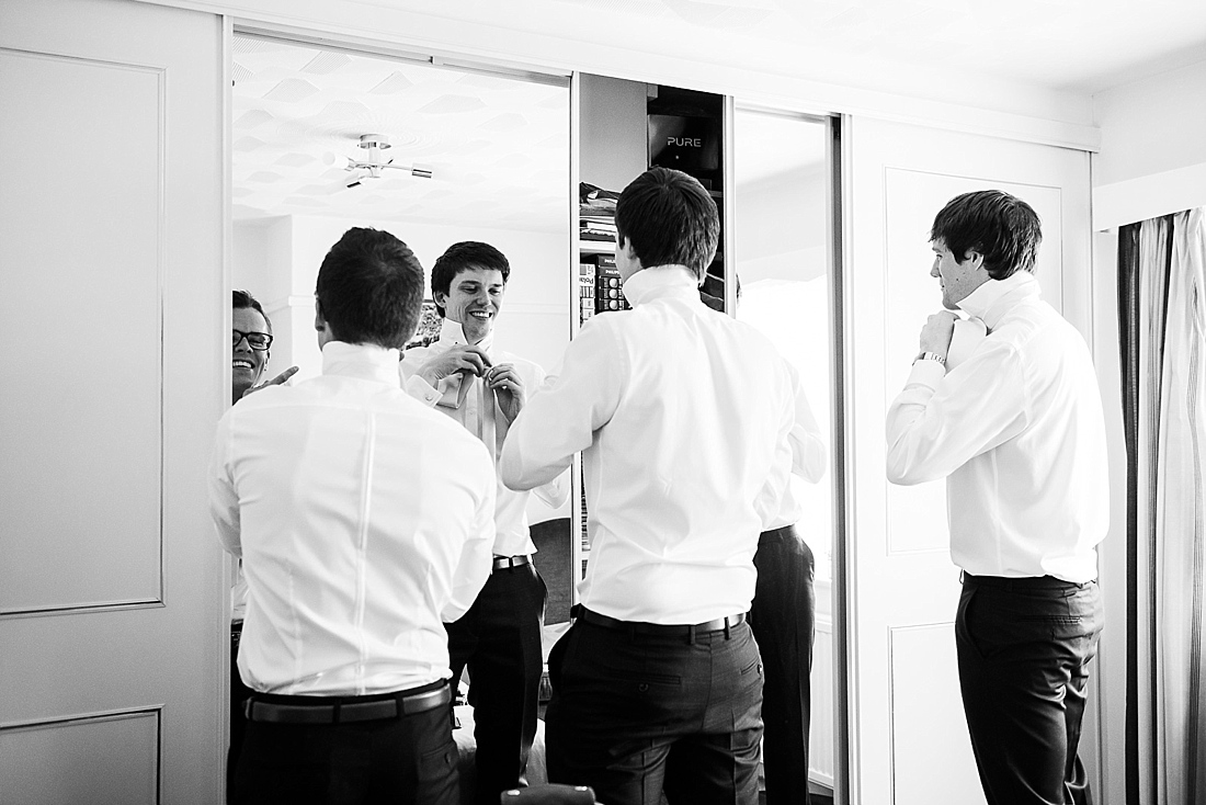 Relaxed pre wedding photography groom with groomsmen